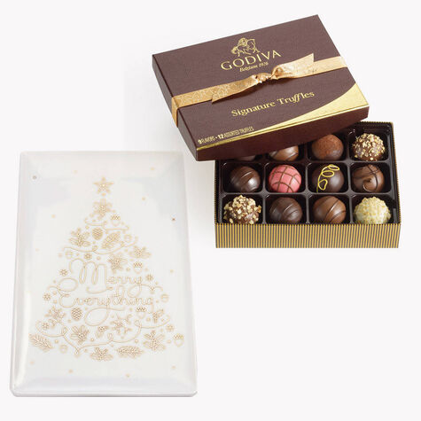 Merry Everything Trinket Tray with Signature Truffles Gift Box, 12 pc.