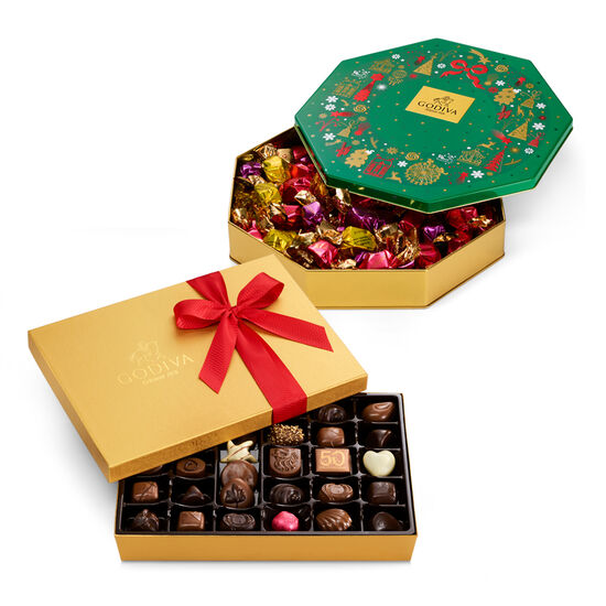 Assorted Chocolate Gift Box and Holiday Tin Set image number null