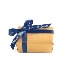 Assorted Chocolate Gold Favor, Personalized Navy Ribbon, 2 pc.