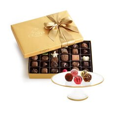 Dessert Pedestal with Assorted Chocolate Gold Gift Box, 36 pc.