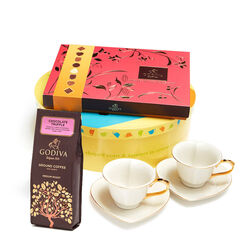 Gold & White Heart Teacups with Chocolate Truffle Coffee & Assorted Chocolate Biscuits, 32 pcs.