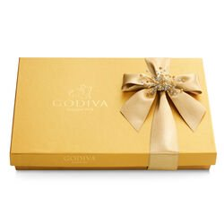Assorted Chocolate Gold Gift Box, Gold Ribbon with Pearl Cluster, 36 pc.