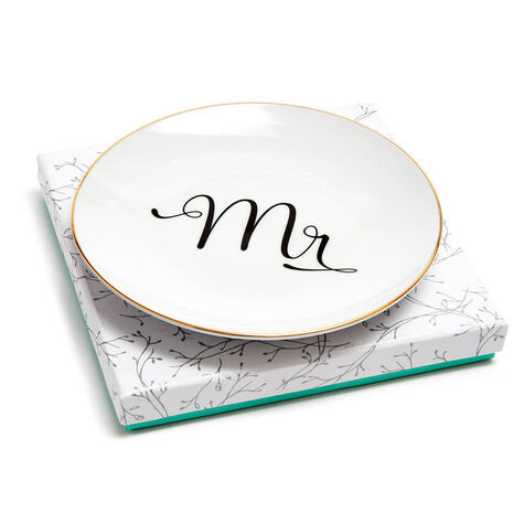 Mr & Mrs Dessert Plates with Patisserie Dessert Chocolate Truffles, 12 pc.
