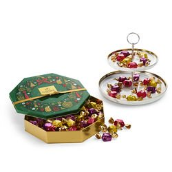 Tiered Marbleized Pedestal with Holiday Tin Assorted Wrapped Truffles, 50 pc.