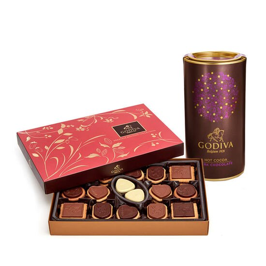 Dark Chocolate Hot Cocoa Tin & Chocolate Biscuit Gift Box, 32 pc. image number null