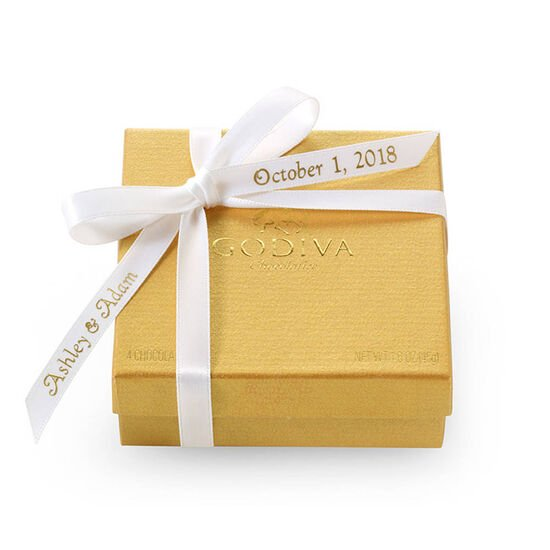 Assorted Chocolate Gold Favor,  Personalized White Ribbon, 4 pc. image number null