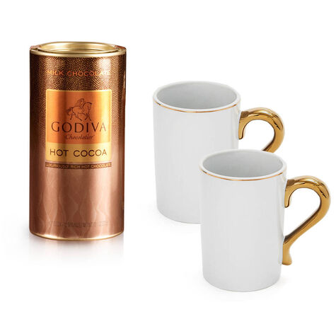 Set of 2 Gold Handle Mugs with Milk Chocolate Hot Cocoa