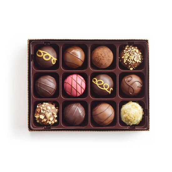 Signature Chocolate Truffles Gift Box, Striped Tie Ribbon, 12 pc. image number null