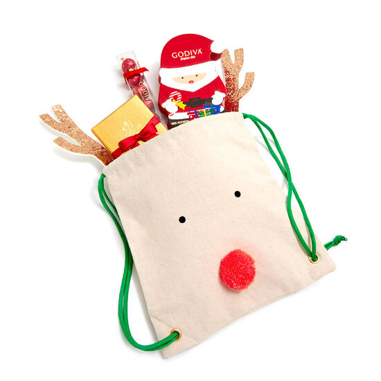 Reindeer Backpack with Seasonal Chocolate Treats image number null