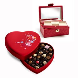 Red Caroline Jewelry Case with Fabric Heart Chocolate Gift Box, 37 pcs.