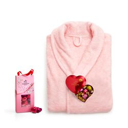 Pink Robe with Valentine's Day Heart Tin and Heart Chocolate Pouch