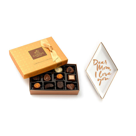 Dear Mom I Love You Tray with Gold Discovery Chocolate Gift Box, 12 pc.