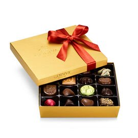 Assorted Chocolate Gold Gift Box, Fall Ribbon, 19 pc.