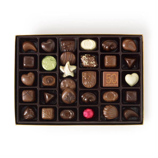Assorted Chocolate Gold Gift Box, Personalized Light Blue Ribbon, 36 pc. image number null