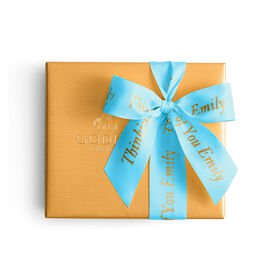 Assorted Chocolate Gold Gift Box, Personalized Sea Blue Ribbon, 19 pc.