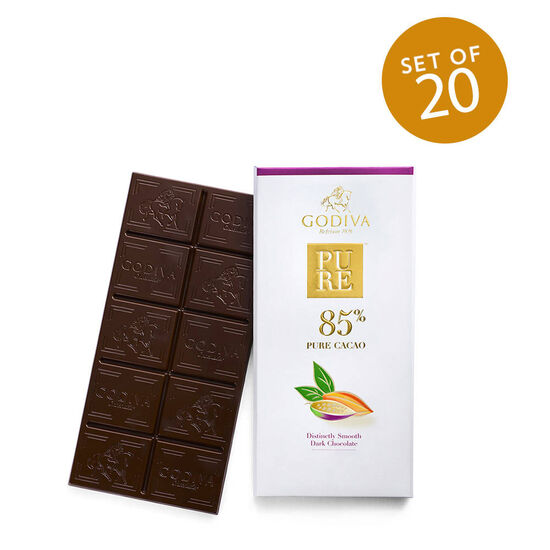 Pure 85% Distinctly Smooth Dark Chocolate Bar, Set of 20 image number null