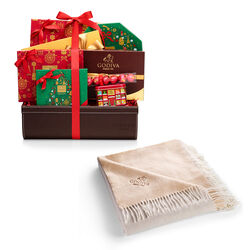 Godiva Holiday Throw with Holiday Luxury Chocolate Gift Basket