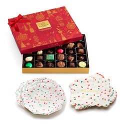Be Merry Plates & Napkins with Assorted Chocolate Holiday Gift Box, 32 pc.