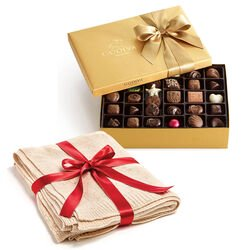 Gold Metallic Throw with Assorted Chocolate Gold Gift Box, 70 pc.