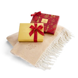 Godiva Holiday Throw with Seasonal Gift Box, 16 pc. and Holiday Gold Gift Box, 19 pc.