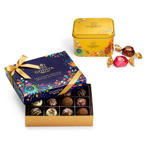 Chocolate Festival Truffles Collection Gift Box and Chocolate Festival Assorted G Cube Tin