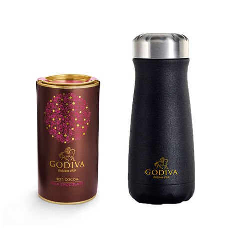 Godiva Traveler Bottle by S'well® with Milk Chocolate Hot Cocoa Canister