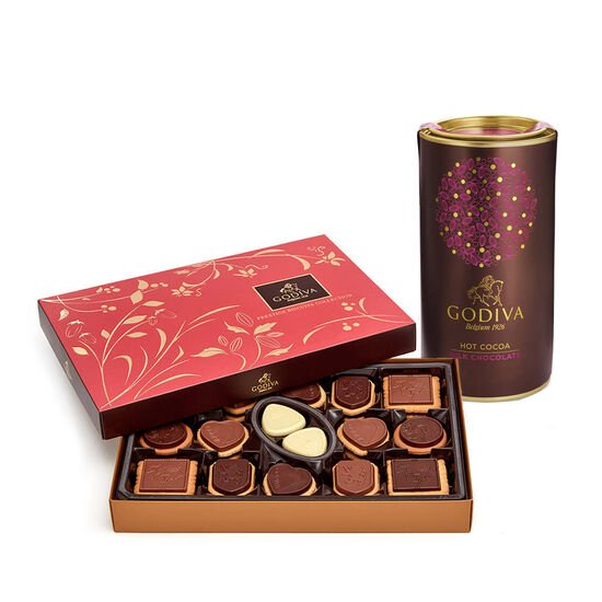 Milk Chocolate Hot Cocoa Tin & Chocolate Biscuit Gift Box, 32 pc. image number null