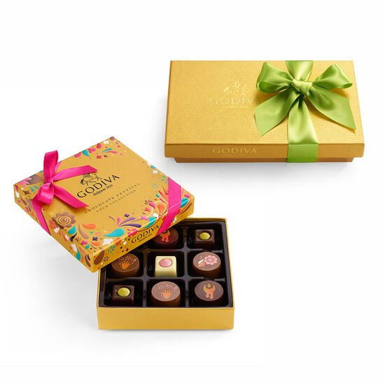 Chocolate Festival Gift Box, 9 pc & Assorted Chocolate Gold Gift Box, Spring Ribbon, 8 pc. image number null