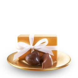 Assorted Chocolate Gold Favor, White Ribbon, 2 pc.