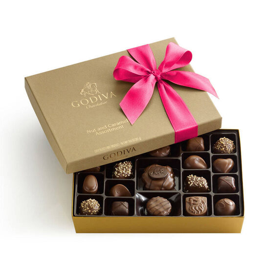 Chocolate Nut and Caramel Gift Box, Hot Pink Ribbon, 19 pc. image number null