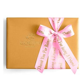 Assorted Chocolate Gold Gift Box, Personalized Hot Pink Ribbon, 70 pc.