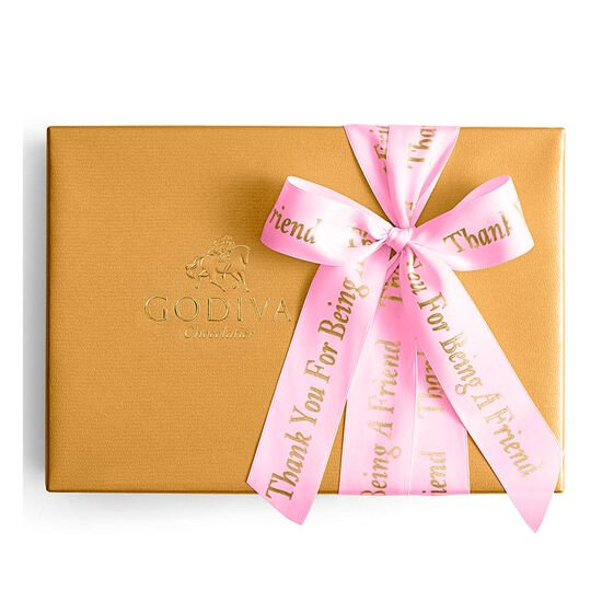Assorted Chocolate Gold Gift Box, Personalized Hot Pink Ribbon, 70 pc. image number null