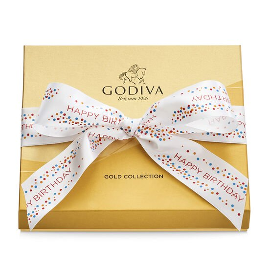 Assorted Chocolate Gold Gift Box, Happy Birthday Ribbon, 19 pc. image number null