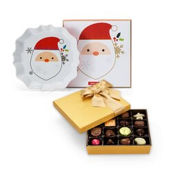 Santa Tray with Assorted Chocolate Gold Gift Box, Classic Ribbon, 19 pc.