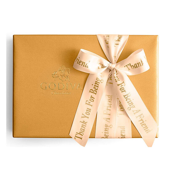 Assorted Chocolate Gold Gift Box, Personalized Peach Ribbon, 70 pc. image number null