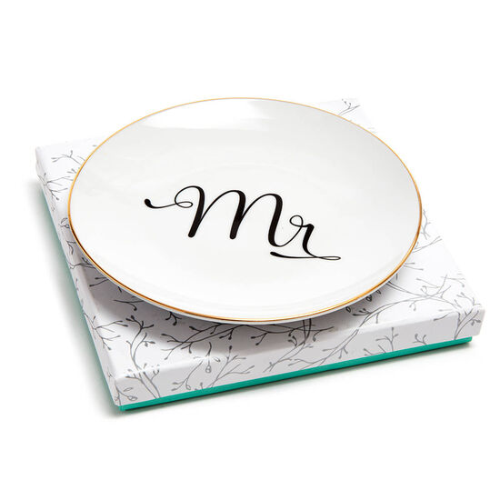 Mr & Mrs Dessert Plates with Assorted Chocolate Gold Gift Box, 19 pc. image number null