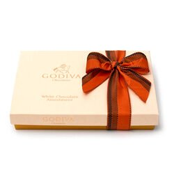 White Chocolate Assortment Gift Box, Orange & Brown Ribbon, 24 pc.