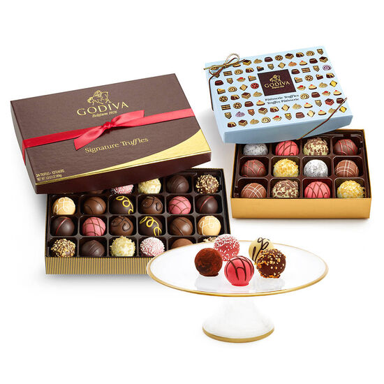 Dessert Pedestal & Chocolate Truffle Tasting Gift Set image number null