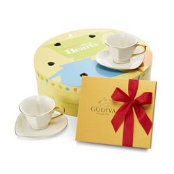 Set of 6 Gold & White Heart Teacups with Assorted Chocolate Gold Gift Box, 19 pcs.