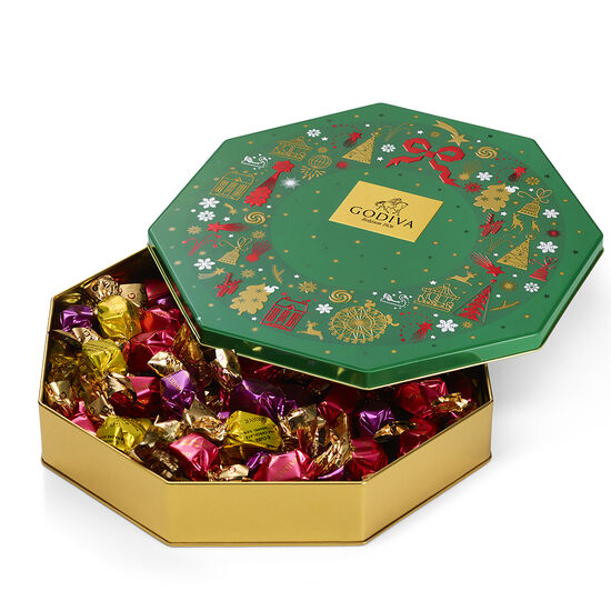 Holiday Tin Assorted Wrapped Truffles, 50 pc. image number null