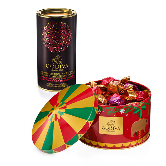 Dark Chocolate Peppermint Hot Cocoa with Holiday Carousel G Cube Tin, 30 pc. image number null