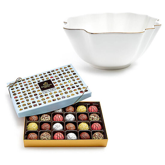 Luxury Gold Bowl with PatisserieTruffle Gift Box, 24 pc. image number null