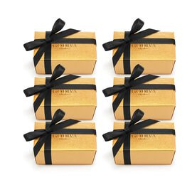 Assorted Chocolate Gold Favor, Black Ribbon, Set of 6, 2 pc.
