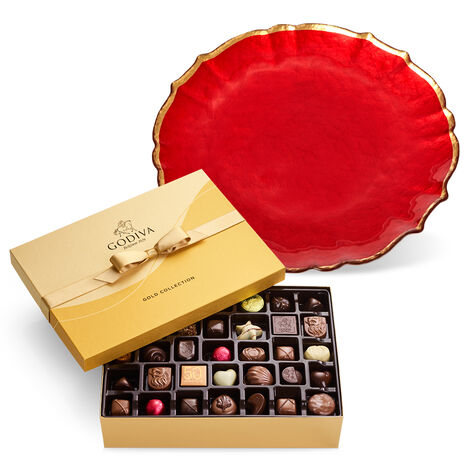 Red Platter with Assorted Chocolate Gift Box, 70 pc.