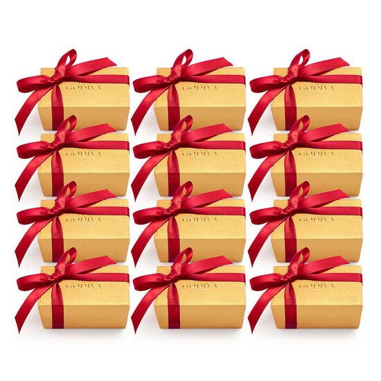 Assorted Chocolate Gold Favor, Red Ribbon, Set of 12, 2 pc. each image number null