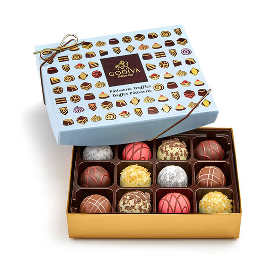 Gold Trim Serving Bowl and Patisserie Dessert Truffles Gift Box, 12 pc. image number null