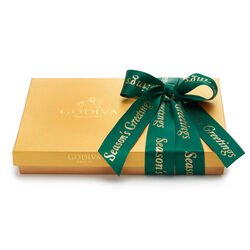 Season's Greetings Assorted Chocolate Gold Gift Box, Forest Green Ribbon, 36 pc.