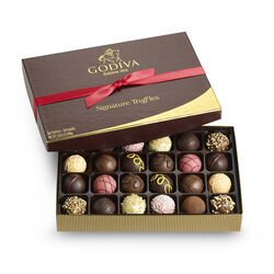 Signature Truffle Gift Box, Red Ribbon, 24 pc.