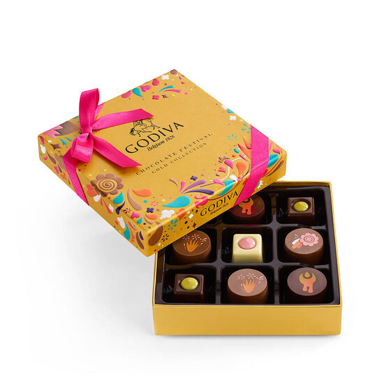 Chocolate Festival Gift Box, 9 pc & Assorted Chocolate Gold Gift Box, Gold Ribbon, 8 pc. image number null