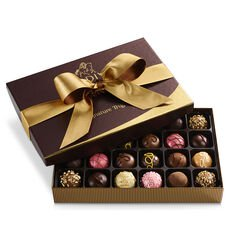 Signature Truffles Gift Box, Gold and Brown Ribbon, 24 pc.
